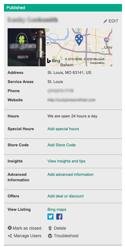 Bing Places Dashboard - Edit Business Listing Example