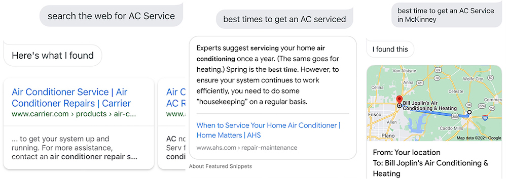 AC Service Voice Search Example