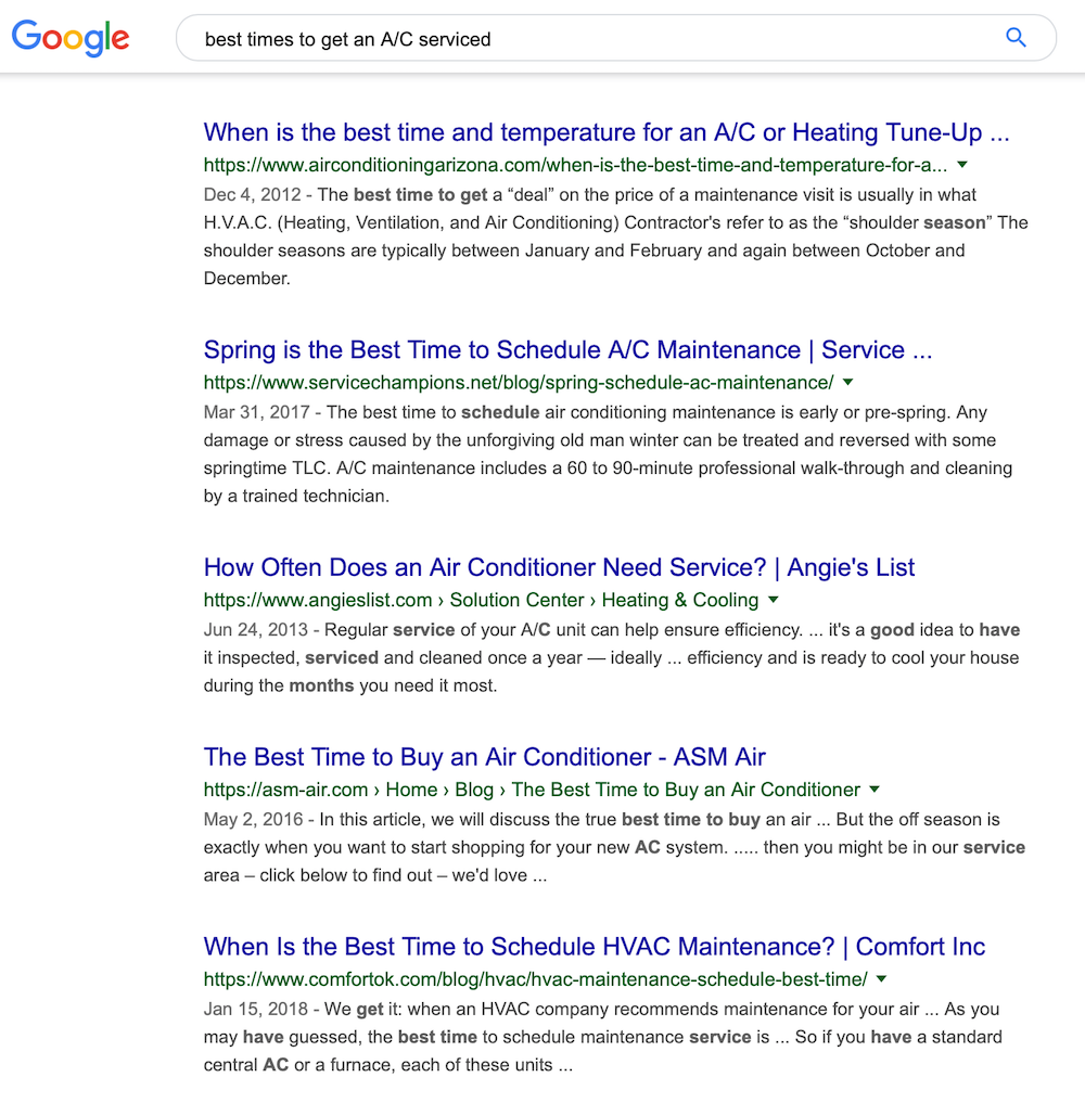 long tail keyword search example
