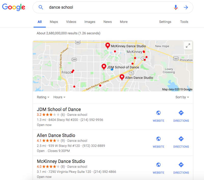 Dance School Example - Google Maps Search Ranking