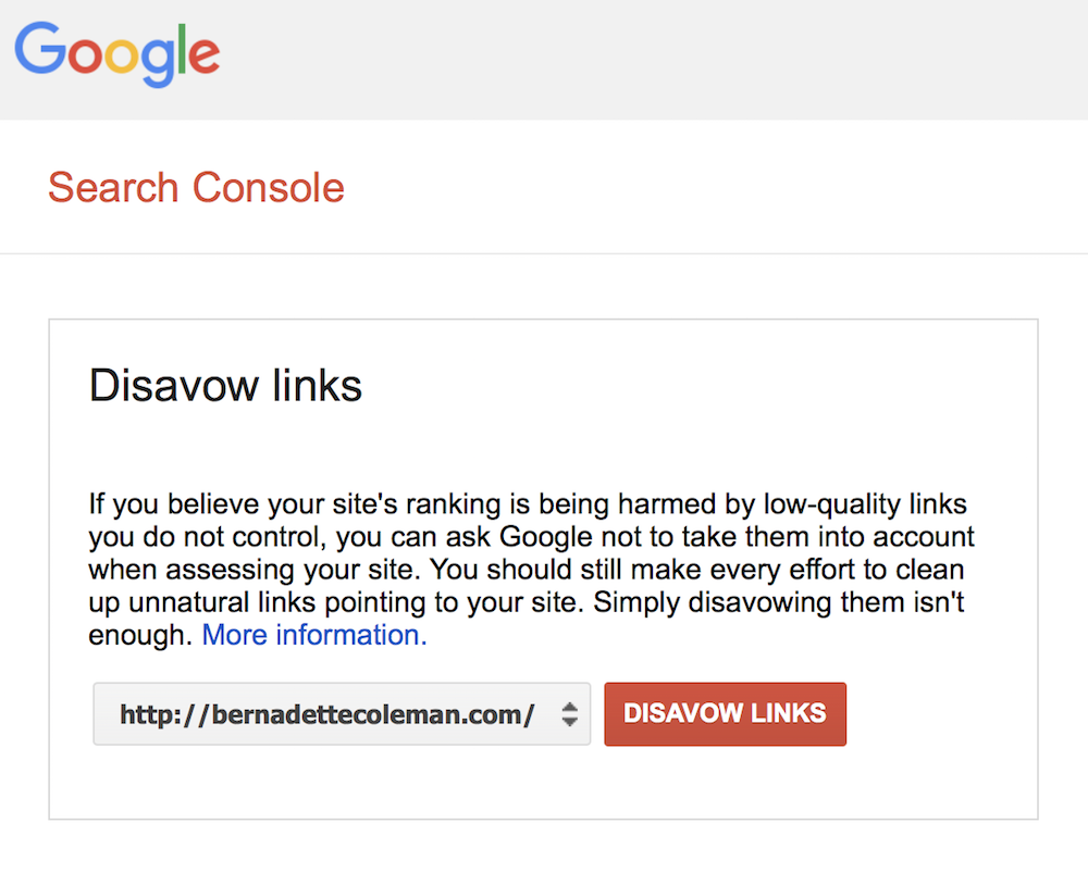 Disavow Example - Google Search Console