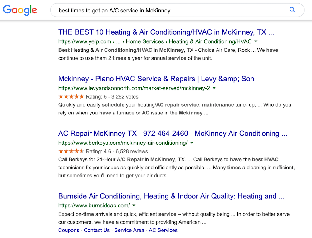 local-focused long tail keyword search example