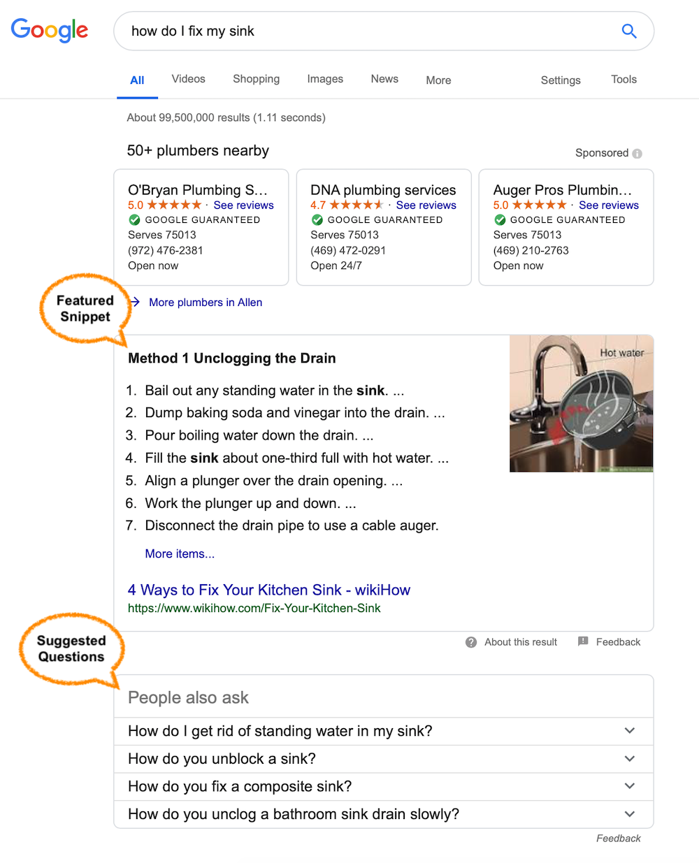 Example of using search results to create voice search friendly content