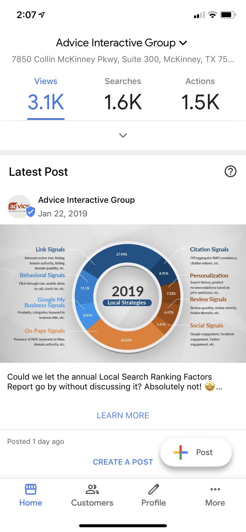 Understanding the Google My Business Mobile App - Home Screen