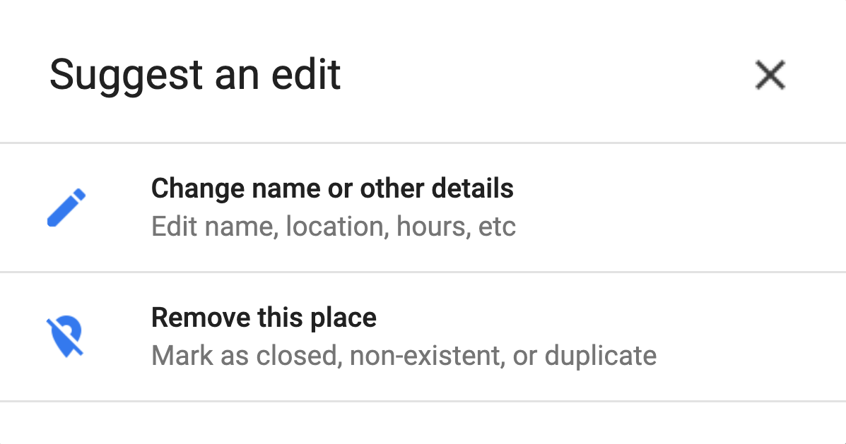 Google My Business - Suggest a Public Edit Example