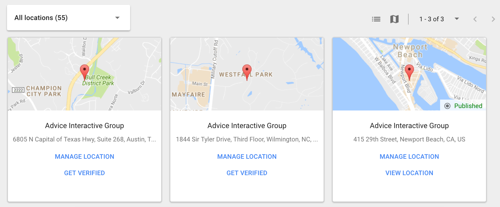 Google My Business Dashboard Card view