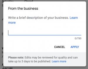 Google My Business Description Box