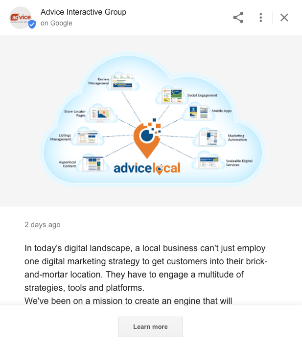 Google My Business - Google Post Displayed in Search Results
