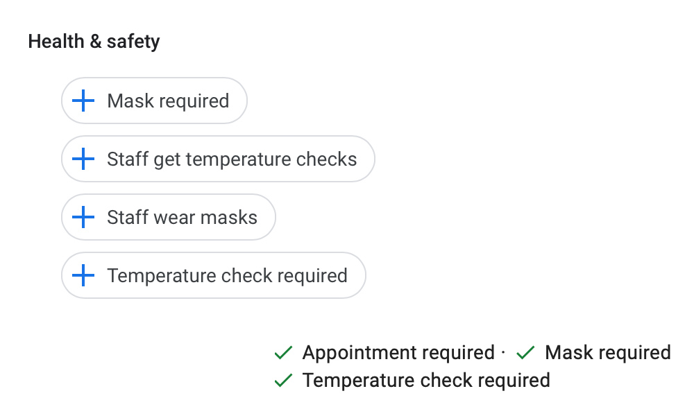 Google My Business Health & Safety Attributes