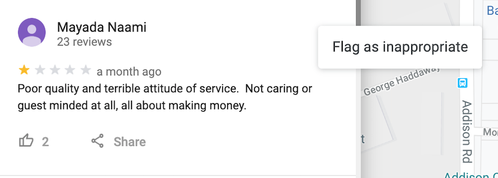 Google My Business Spam Review Example