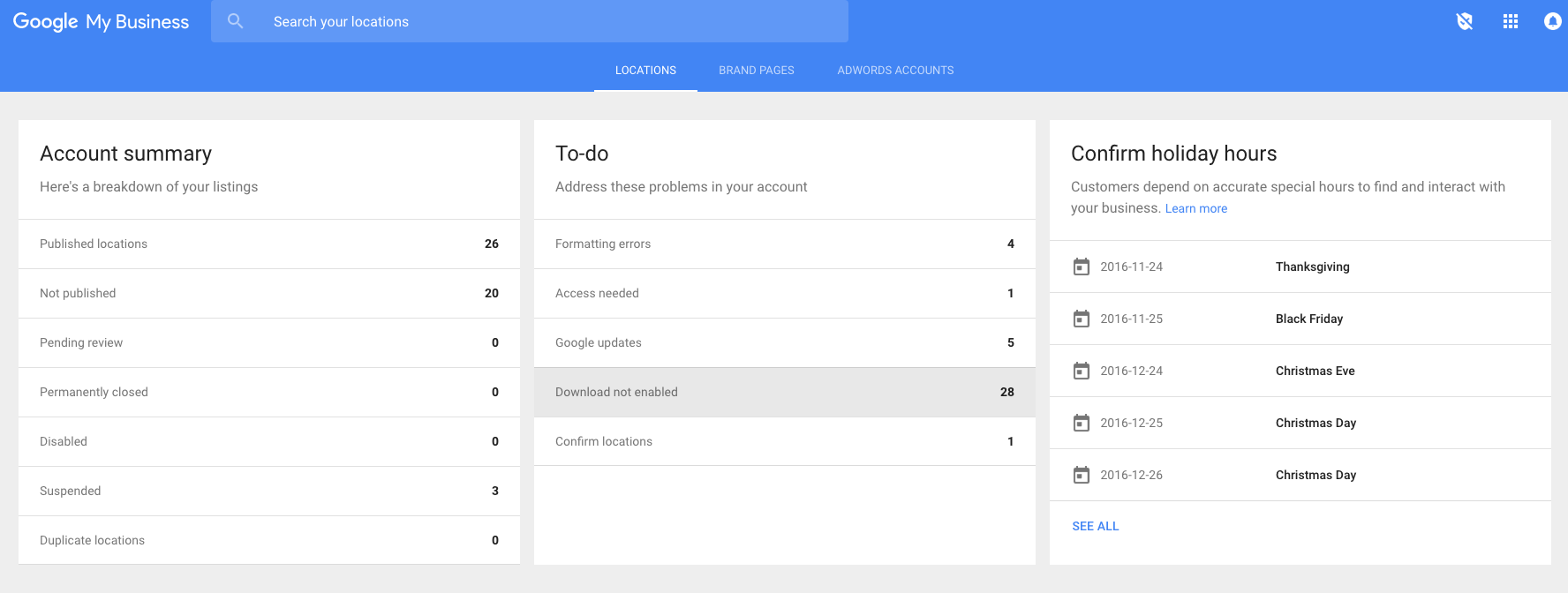 Google My Business Dashboard To Do