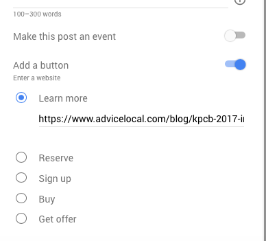 Adding a CTA to a Google Post