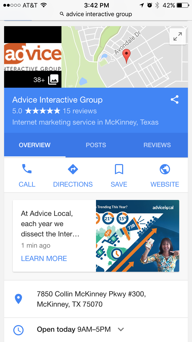Google Post Displayed in Mobile Search Results