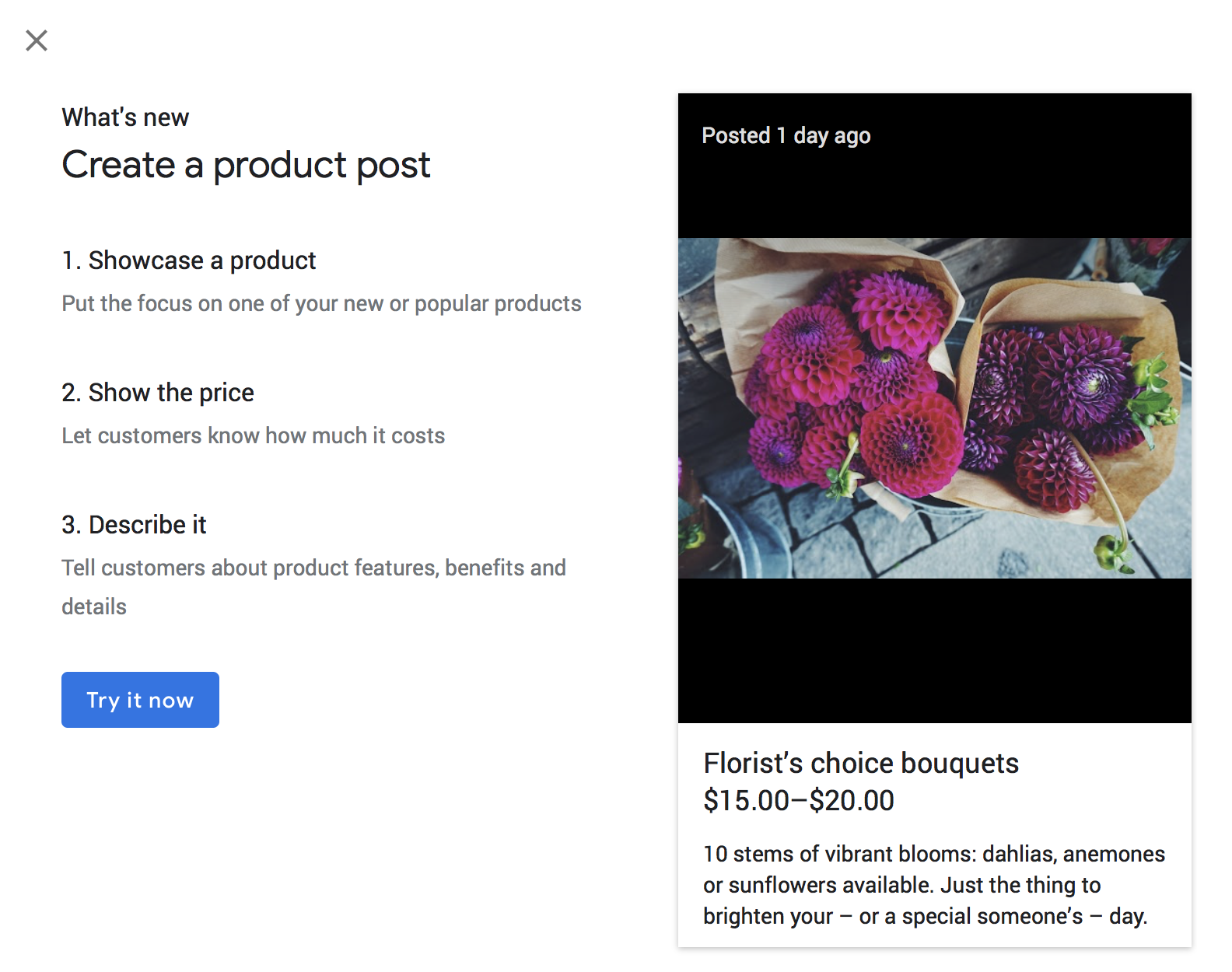 Google Posts for Products via the API