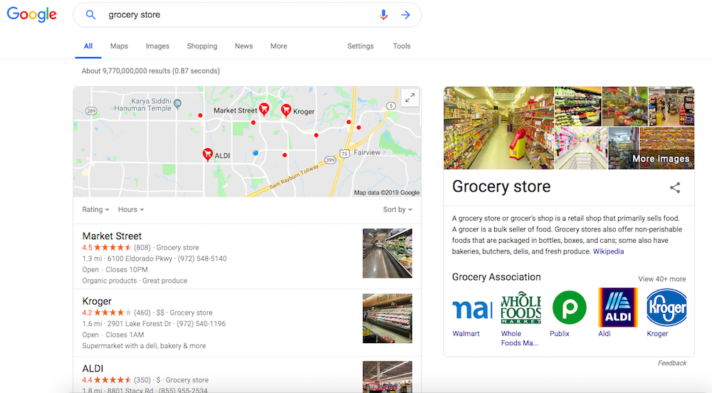 Grocery Store Search Example - Google Maps Ranking