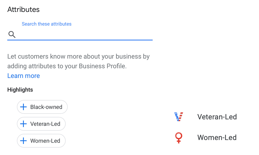 Google My Business Highlights Attributes