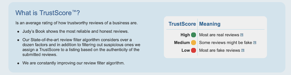 Judy's Book TrustScore evaluates reviews