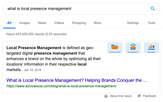 Local Presence Management Featured Snippet
