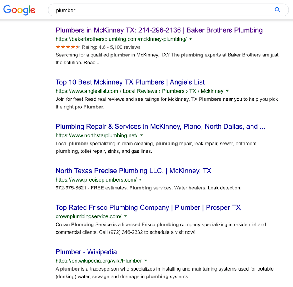 Local Search Results - Plumber Example