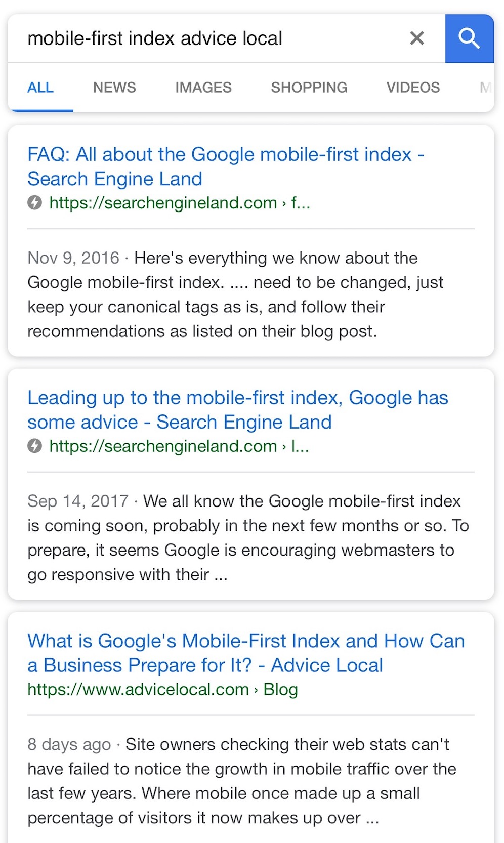 Mobile Example of AMP results
