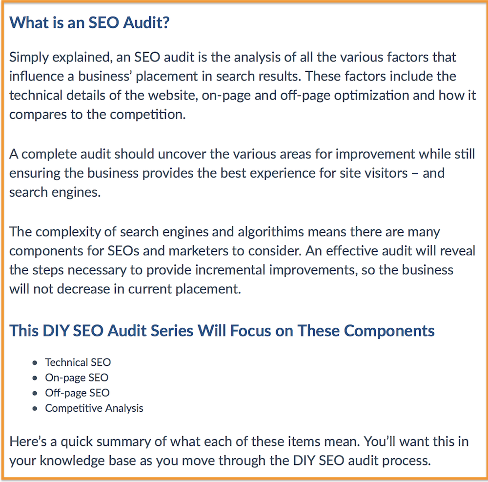 On-Page SEO Audit - H2 and H2 Example