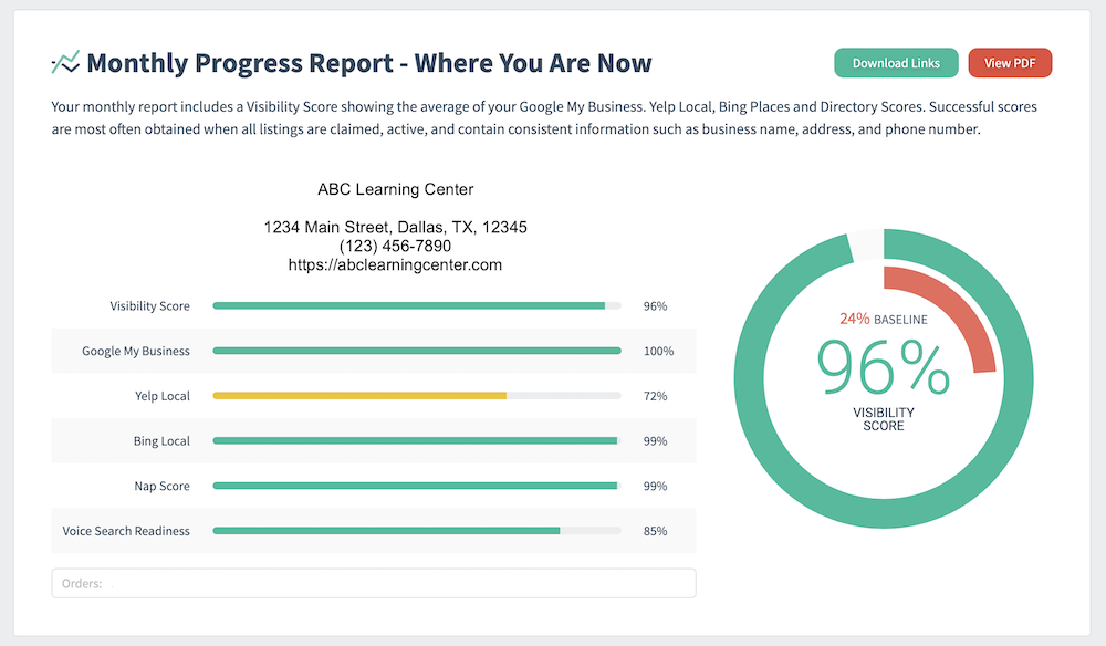 Advice Local's Online Visibility Report Example