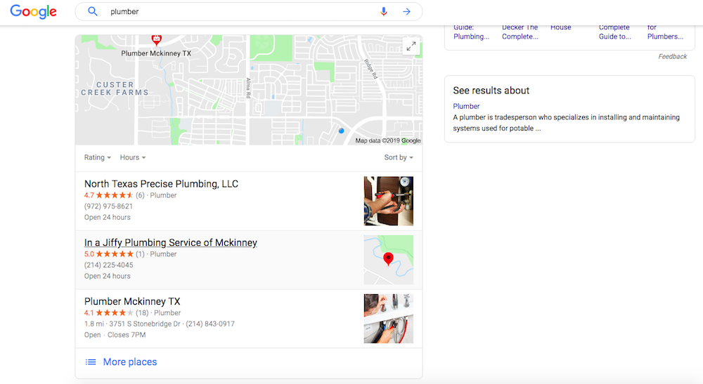 Plumber Search Example - Google Maps Ranking
