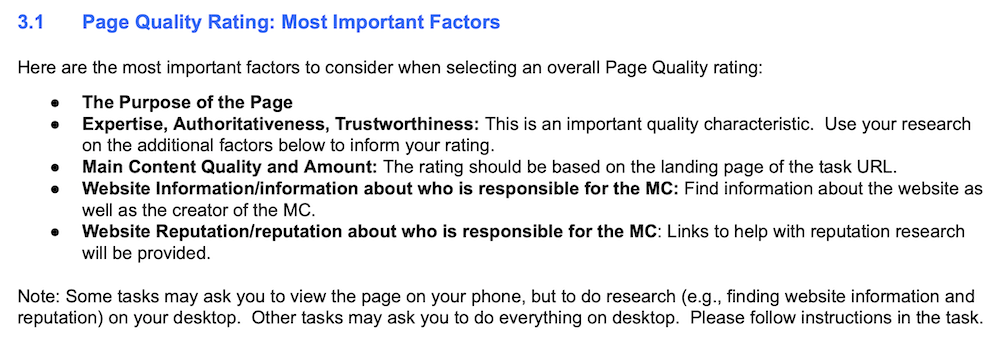 Quality Raters Website Main Content Guidelines From Google