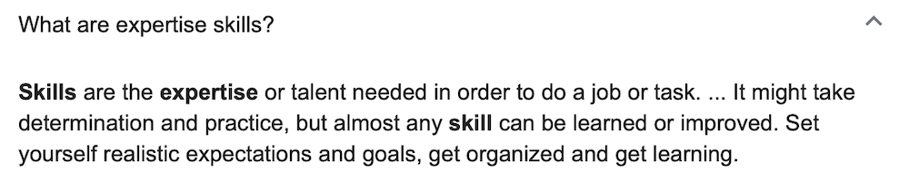 Definition of What is Expertise Skills