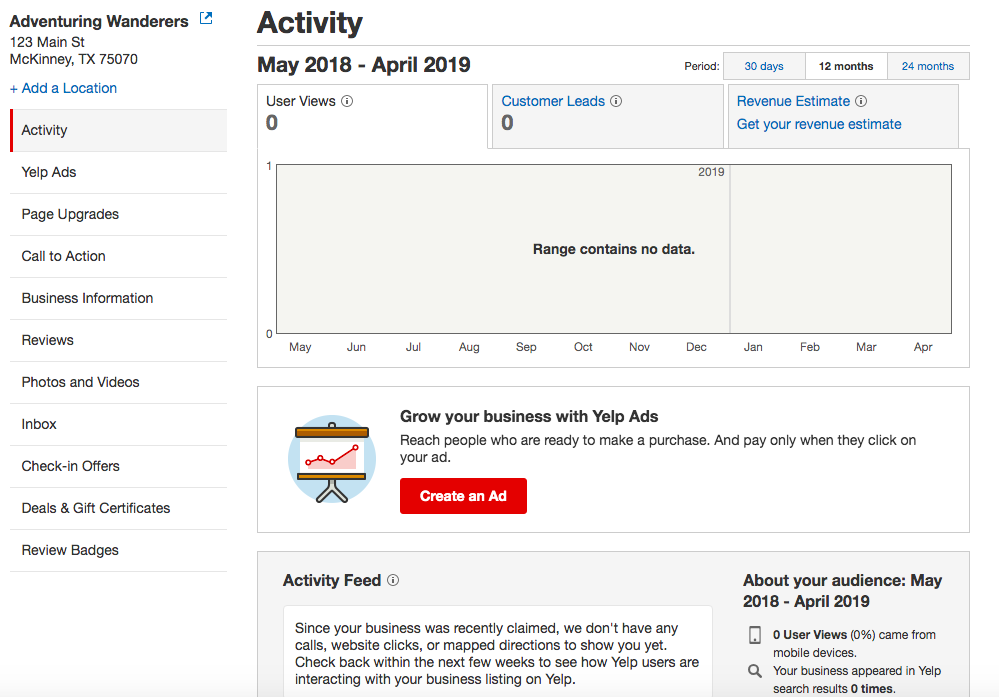Access Yelp's Activity Dashboard