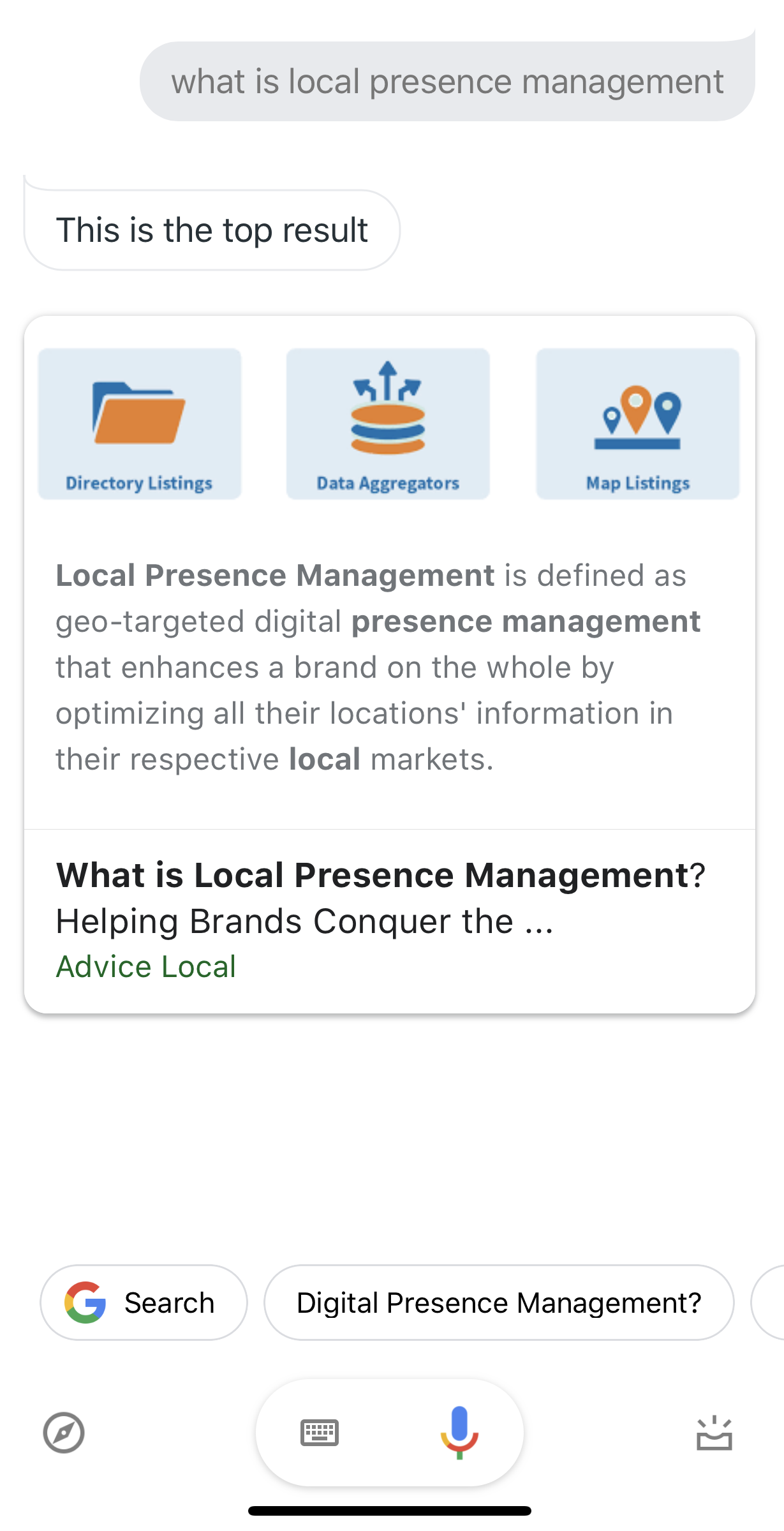 Local Presence Management Voice Search Results