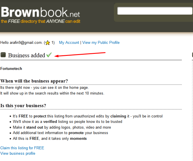 Brownbook Business Listing step 11