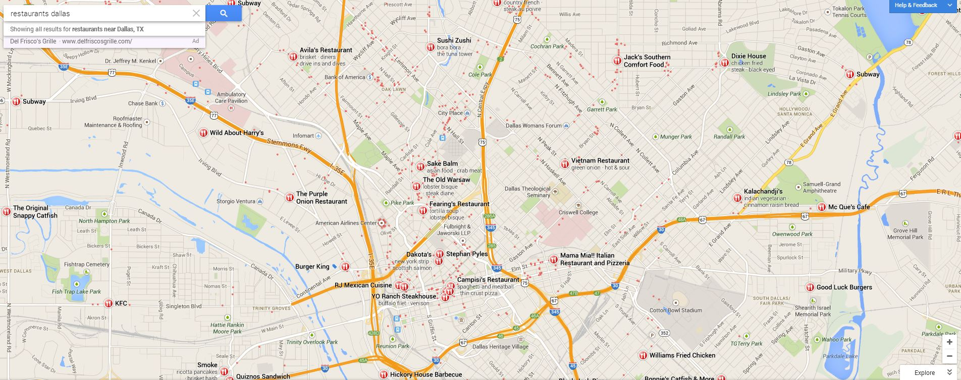 Google Maps-restaurants in Dallas