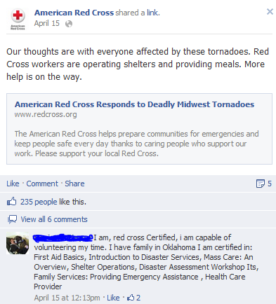 Red Cross Helpers Via Facebook