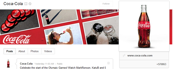coca-cola google plus brand