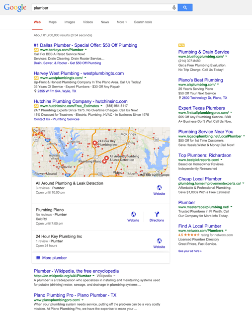 Google 3-Pack Results Desktop Search