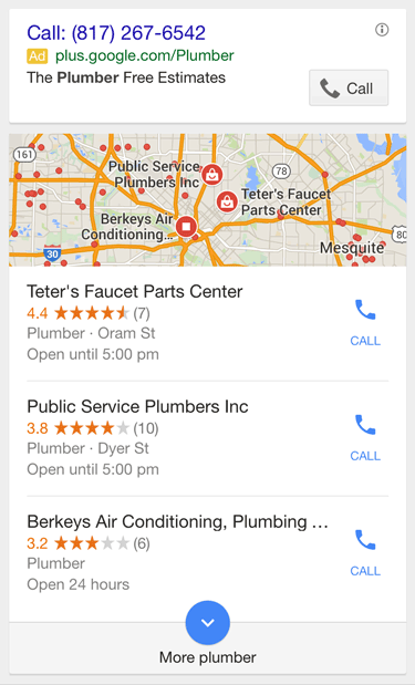 Google 3-Pack Results Mobile Search