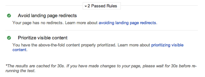 Page Speed Insights Passed Rules